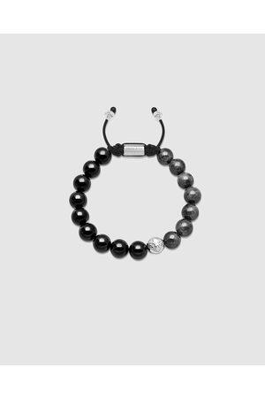 Nialaya Men's Beaded Bracelet with Agate and Jade - Jewellery Men's Beaded Bracelet with Agate and Jade