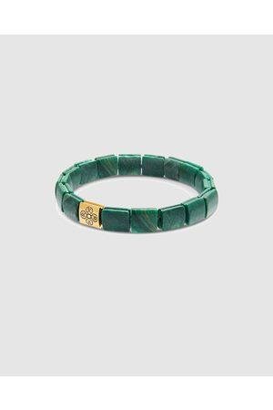 Nialaya Men Bracelets - Men's Wristband with African Jade and Dorje Flatbeads - Jewellery Men's Wristband with African Jade and Dorje Flatbeads