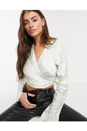 ASOS Women Wrap Tops - Wrap-around top satin jacquard top in mint-Green