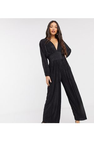 ASOS ASOS DESIGN Tall kimono plisse jumpsuit-Black