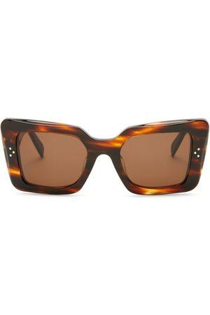 Céline Women Sunglasses - Rectangular Tortoiseshell-acetate Sunglasses - Womens - Tortoiseshell