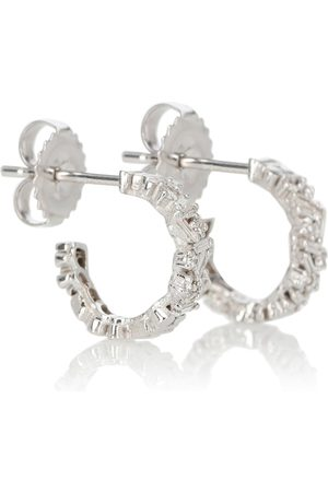 Suzanne Kalan Fireworks 18kt white gold hoop earrings with diamonds
