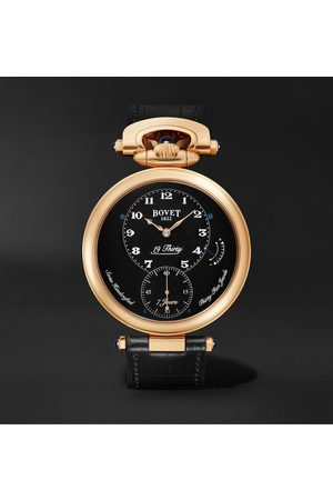 Bovet Men Watches - 19Thirty Fleurier Hand-Wound 42mm 18-Karat Rose Gold and Leather Watch, Ref. No. NTR0029