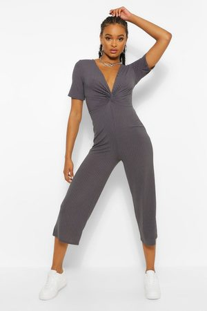 Boohoo Ribbed Twist Front Culotte Jumpsuit- Charcoal