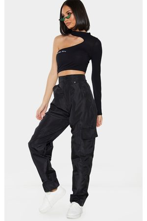 PRETTYLITTLETHING Shell Straight Cargo Pocket Pants