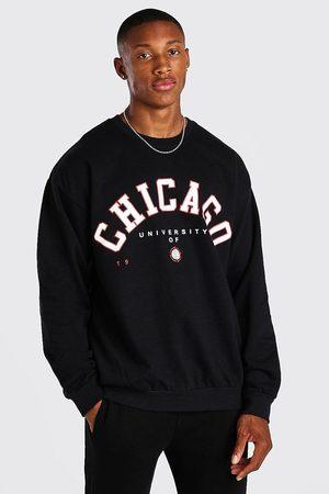 Boohoo Mens Oversized Chicago Print Sweatshirt