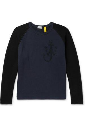 Moncler Genius Men Sweatshirts - 1 JW Anderson Logo-Embroidered Virgin Wool and Loopback Cotton-Jersey Sweatshirt