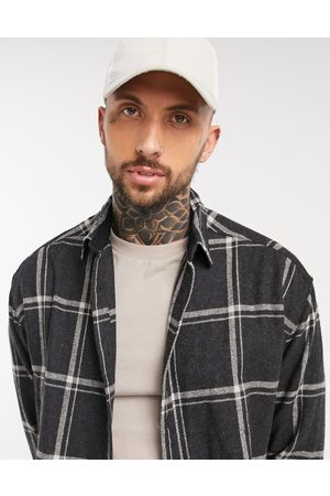 ASOS 90s oversized wool-rich shirt in black and white large scale check
