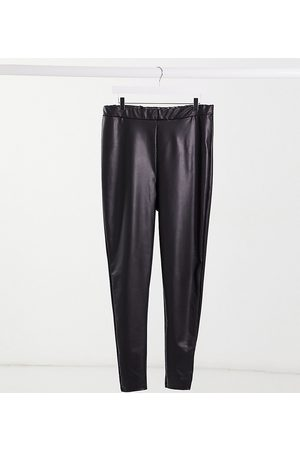 Yours Faux-leather leggings in black