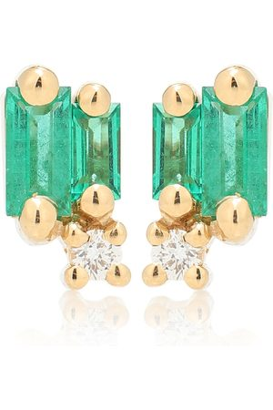 Suzanne Kalan Fireworks 18kt gold warrings with emeralds