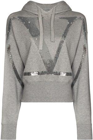 VALENTINO Women Hoodies - VLOGO cropped sequinned hoodie