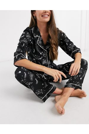 ASOS DESIGN Men Casual - Constellation star print 100% modal shirt & straight leg pant pyjama set in black-Navy