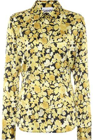 Ganni Floral stretch-silk satin shirt