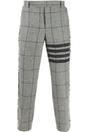 Thom Browne 4-Bar Prince of Whales check frayed chinos