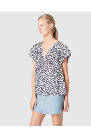 French Connection Women Shirts - Textured Flutter Sleeve Shirt - Tops (NAVY/ DITSY FLO) Textured Flutter Sleeve Shirt