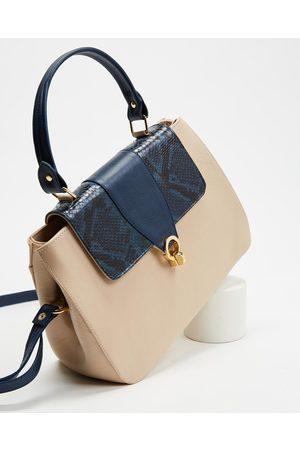 Nina Armando Women Handbags - Gini - Handbags (Napa Natural & Cobra Marinho) Gini