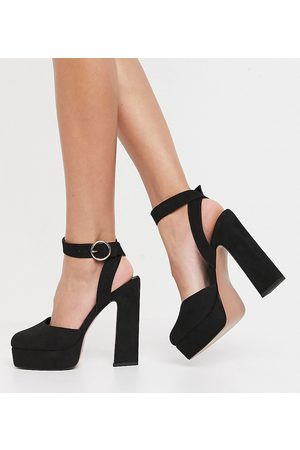 ASOS Wide Fit Pecan platform high heels in black