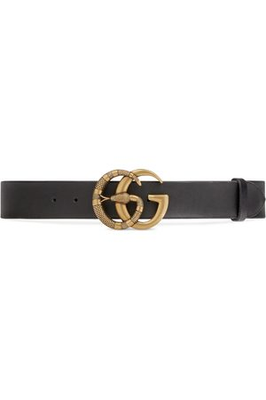Gucci Men Belts - Leather belt with Double G buckle with snake