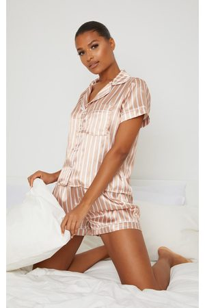 PRETTYLITTLETHING Nude And White Stripe Satin Short PJ Set