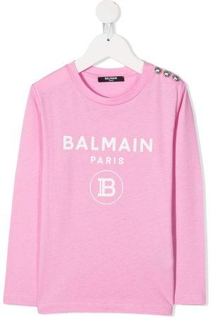 Balmain Logo print long-sleeved top
