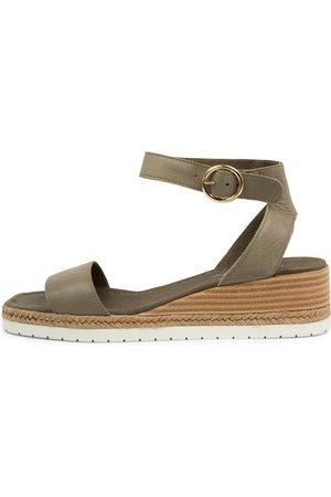 Django & Juliette Irish Dj Olive Sandals Womens Shoes Casual Heeled Sandals