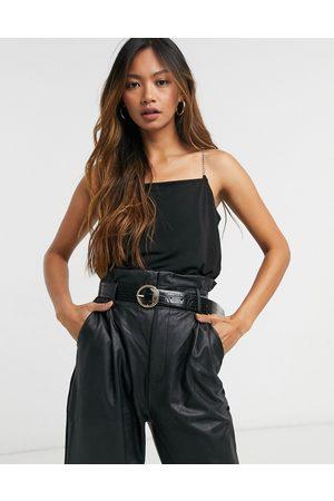 Vero Moda Cami top with diamante strap in black