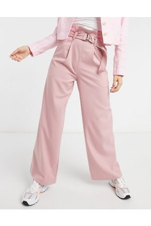 Monki Vera wide-legged high-waisted pants in pink