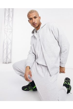 Weekday Standard zip hoodie in grey