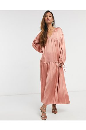 ASOS Satin tiered trapeze midi smock dress in dusky pink
