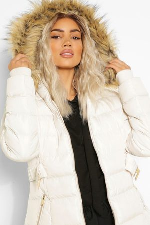 Boohoo Faux Fur Trim Hooded Belted Puffer Coat- Stone