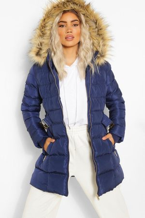Boohoo Faux Fur Trim Hooded Belted Puffer Coat- Navy