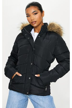 PRETTYLITTLETHING Quilted Mara Faux Fur Hooded Puffer Jacket