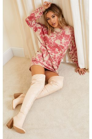 PRETTYLITTLETHING Cream High Block Heel Faux Leather Thigh High Boots