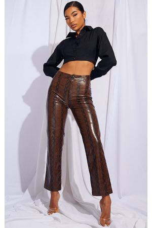 PRETTYLITTLETHING Faux Leather Snake Print Cropped Straight Leg Pants
