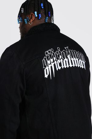 Boohoo Mens Plus Size Man Borg Lined Denim Jacket