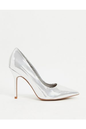 ASOS Phoenix pointed high-heeled court shoes in silver
