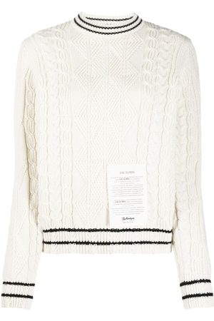 BALLANTYNE Logo-patch cable-knit jumper