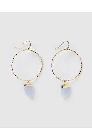 Miz Casa and Co Stone Charm Hoop Earrings - Jewellery ( Agate ) Stone Charm Hoop Earrings