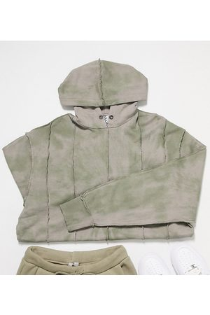 COLLUSION Unisex hoodie with exposed stitch detail and tie dye-Green
