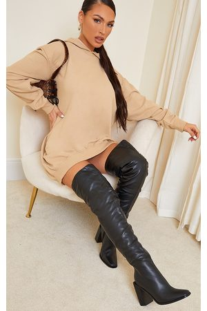 PRETTYLITTLETHING High Block Heel Faux Leather Thigh High Boots