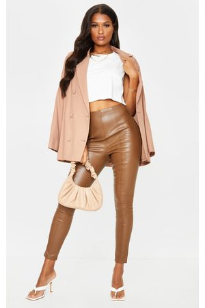 PRETTYLITTLETHING Leather Pants - Chocolate Faux Leather Stretch Leggings