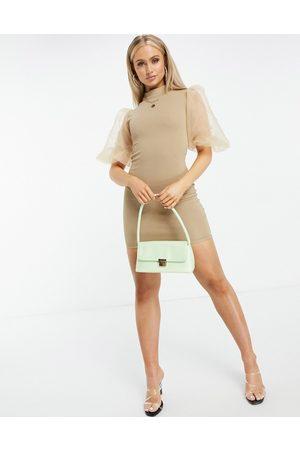 Ax Paris Organza sleeve mini dress in mocha-Brown