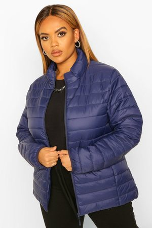 Boohoo Plus Basic Puffer Coat- Navy