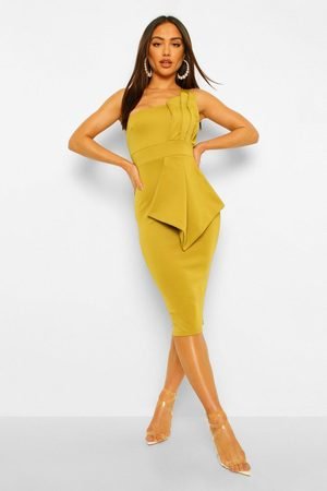 Boohoo One Shoulder Pleated Detail Midi Dress- Chartreuse