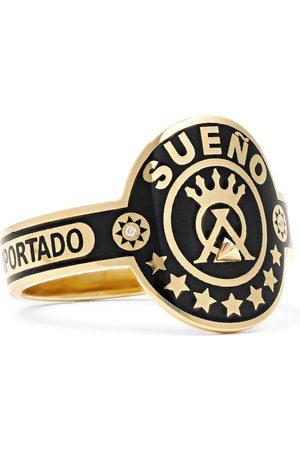 Foundrae Dream 18-Karat Gold, Enamel and Diamond Signet Ring