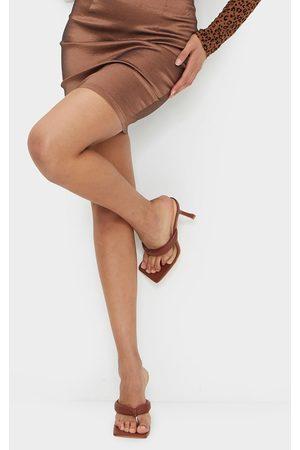 PRETTYLITTLETHING Chocolate PU Tube Strap Toe Thong Mid Heels