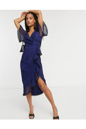 ASOS Lace midi dress with flutter sleeve and wrap waist with contrast trim-Blue