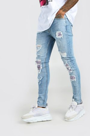 Boohoo Men Skinny - Mens Ice Super Skinny Bandana Biker Rip & Repair Jeans