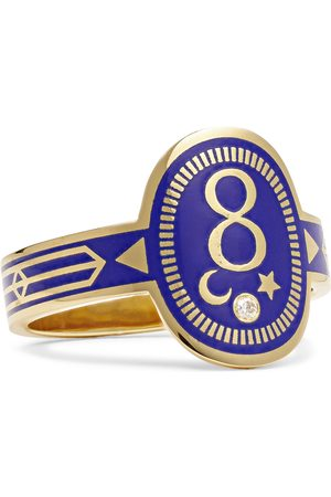 Foundrae Men Rings - Karma 18-Karat Gold, Enamel and Diamond Signet Ring