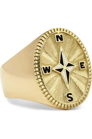 Foundrae Men Rings - Course Correction 18-Karat and Enamel Signet Ring